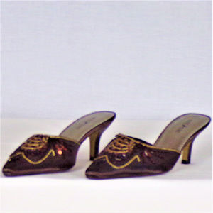 White Stag Shoes - Mules med. heel brown satin beads & sequins size 7